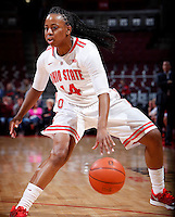 Ohio State Buckeyes guard Ameryst Alston (14) brings the ball down court during the first half of the NCAA women's basketball game between the Ohio State Buckeyes and the Appalachian State Mountaineers at Value City Arena in Columbus, Ohio, on Friday, Dec. 20, 2013. At the half, the Buckeyes trailed the Mountaineers 21-17. (Columbus Dispatch/Sam Greene)