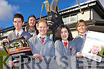 ARTS FESTIVAL: Students of Intermediate School Killorglin unveiling details of the forthcoming arts events at the school, front l-r: Evan McMahon, Ro?isi?n Looney, Eimear Duffy, Janelle O'Grady. Back: Helen Pierce (Teacher).