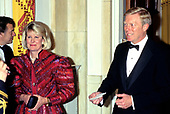 United States House Minority Leader Dick Gephardt (Democrat of Missouri), right, and his wife, Jane, left, arrive for an Official Dinner honoring Chancellor Helmut Kohl of Germany hosted by US President Bill Clinton and first lady Hillary Rodham Clinton at the White House in Washington, DC on Thursday, February 9, 1995.<br /> Credit: John Harrington / Pool via CNP