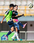 Jingde Chen of Wofoo Tai Po (L) competes for the ball with Aleksandar Randelovic of Sun Pegasus FC (R) during the HKFA Premier League between Wofoo Tai Po vs Sun Pegasus at the Tai Po Sports Ground on 22 November 2014 in Hong Kong, China. Photo by Aitor Alcalde / Power Sport Images