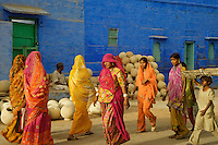 Women walking in the afternoon in the Blue City, Jodhpur Rajasthan India.