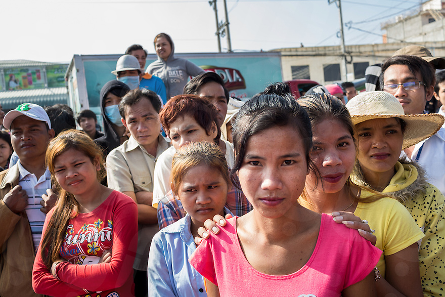 Jan. 02, 2014 - Phnom Penh, Cambodia. Garment factory workers protest calling for a higher wage. © Nicolas Axelrod / Ruom