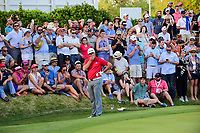 Jon Rahm (ESP) reacts to his short chip on 17 during round 7 of the World Golf Championships, Dell Technologies Match Play, Austin Country Club, Austin, Texas, USA. 3/26/2017.<br /> Picture: Golffile | Ken Murray<br /> <br /> <br /> All photo usage must carry mandatory copyright credit (&copy; Golffile | Ken Murray)
