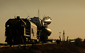 The Soyuz TMA-13 spacecraft is transported by railcar to its launch pad at the Baikonur Cosmodrome in Kazakhstan, Friday, Oct. 10, 2008 for launch Oct. 12 to carry Expedition 18 Commander Michael Fincke, Flight Engineer Yury V. Lonchakov and American Spaceflight Participant Richard Garriott to the International Space Station. The three crew members will dock their Soyuz to the International Space Station on Oct. 14. Fincke and Lonchakov will spend six months on the station, while Garriott will return to Earth Oct. 24, 2008 with two of the Expedition 17 crew members currently on the International Space Station.<br /> Mandatory Credit: Bill Ingalls / NASA via CNP