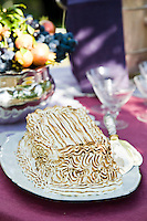 Detail of a baked alaska on an outdoor table