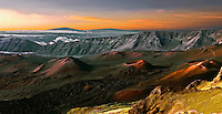 Sunrise Panorama at Haleakala National Park on Maui in Hawaii with views of the Big Island