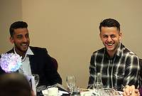 Pictured L-R: Neil Taylor and Lukasz Fabianski Thursday 08 April 2016<br />Re: Zimkids dinner at the Liberty Stadium, Swansea, UK