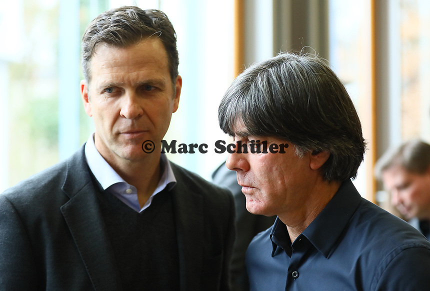 Bundestrainer Joachim Loew (Deutschland Germany) mit Teammanager der Nationalmannschaft Oliver Bierhoff (Deutschland Germany) - 15.03.2019: Pressekonferenz der Deutschen Nationalmannschaft, DFB Zentrale Frankfurt