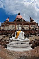 White Buddha, Wat Yai Chaya Mongkol or The Great Temple of Auspicious Victory, Ayttthaya, Thailand
