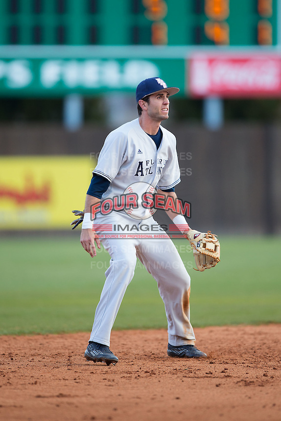 Florida Atlantic Owls shortstop CJ Chatham (10) on defense against the Charlotte 49ers at Hayes Stadium on March 14, 2015 in Charlotte, North Carolina.  The Owls defeated the 49ers 8-3 in game one of a double header.  (Brian Westerholt/Four Seam Images)