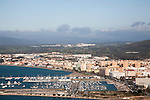 View toward La Linea, Spain from Gibraltar, British overseas territory in southern Europe