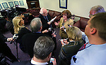 Nevada Sen. Debbie Smith, D-Sparks, answers media questions following a news conference at the Legislative Building in Carson City, Nev., on Monday, Feb. 25, 2013..Photo by Cathleen Allison
