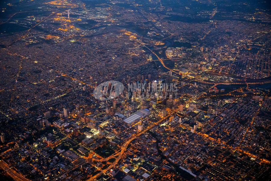 Sep 25, 2017; Philadelphia, Pennsylvania, USA;   Aerial view of downtown Philadelphia, PA. night lights city skyscrapers dusk scenic Mandatory Credit: Mark J. Rebilas