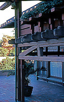 Greene & Greene: Gamble House. Rear of house, balcony.  Photo '77.
