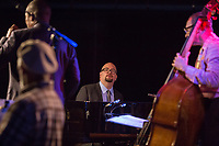 Ethan Iverson of the Ethan Iverson Trio with Ravi Coltrane as they perform for Thelonious Monk's 100th birthday for during the Monk @ 100 festival at the Durham Fruit and Produce Company in Durham, NC Thursday, October 26, 2017. (Justin Cook for The New York Times)