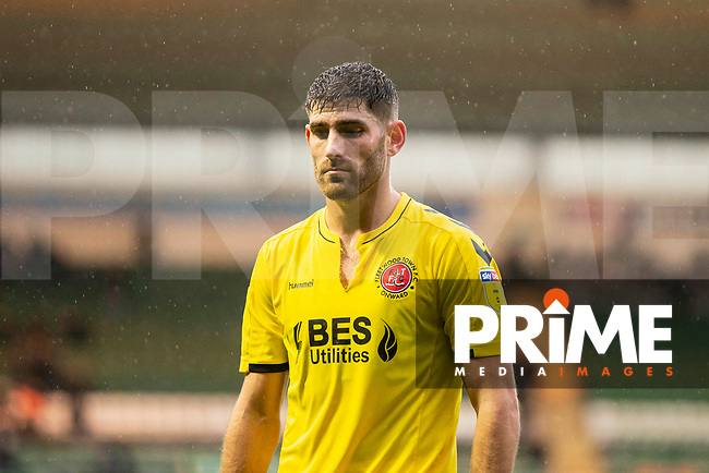 Ched Evans of Fleetwood Town leaves the field at half time as a female fan shouts angrily at him during the Sky Bet League 1 match between Plymouth Argyle and Fleetwood Town at Home Park, Plymouth, England on 25 November 2018. Photo by Mark Hawkins / PRiME Media Images.