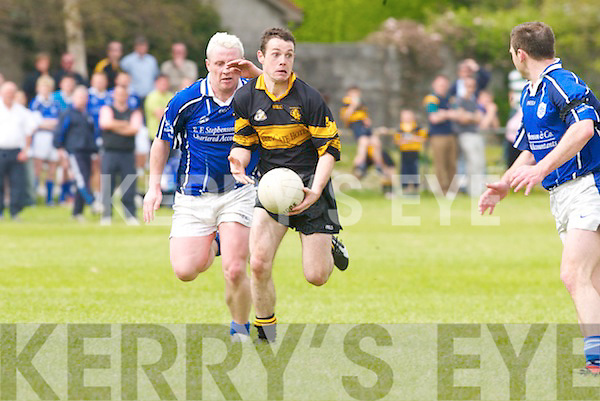 The eyes have it. Austin Stacks Mikey Collins gets his pass away before Kerins ORahillys duo Ger Molloy (left) and John Kelly can intervene in their County League Division 1 clash on Sunday..