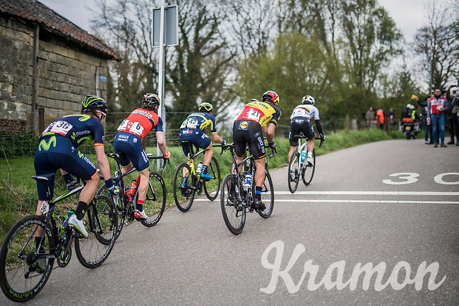 an elite lead group with Philippe Gilbert (BEL/Quick Step floors) up the very steep (up to 22%) Keutenberg<br /> <br /> 52nd Amstel Gold Race (1.UWT)<br /> 1 Day Race: Maastricht &rsaquo; Berg en Terblijt (264km)
