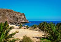 Spanien, Kanarische Inseln, Fuerteventura, bei La Lajita: fast unbeuehrter Strand | Spain, Canary Island, Fuerteventura, near La Lajita: secluded beach