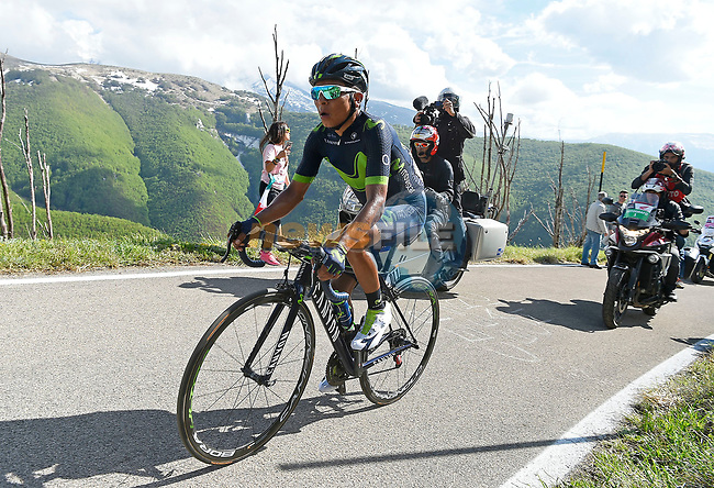 Nairo Quintana (COL) Movistar Team on the slopes of Blockhaus during Stage 9 of the 100th edition of the Giro d'Italia 2017, running 149km from Montenero di Bisaccia to Blockhaus, Italy. 14th May 2017.<br /> Picture: LaPresse/Fabio Ferrari | Cyclefile<br /> <br /> <br /> All photos usage must carry mandatory copyright credit (&copy; Cyclefile | LaPresse/Fabio Ferrari)