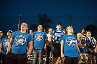 Kansas City, Mo. - Saturday April 23, 2016: FC Kansas City Blue Crew members cheer from the stands as their team hosts Portland Thorns FC at Swope Soccer Village. The match ended in a 1-1 draw.