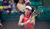 June 13th 2017, Nottingham, England; WTA Aegon Nottingham Open Tennis Tournament;  Backhand volley from Johanna Konta of Great Britain during her game versus Tara Moore of Great Britain