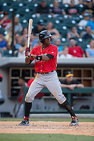 Keon Broxton (24) of the Indianapolis Indians at bat against the Charlotte Knights at BB&T BallPark on June 20, 2015 in Charlotte, North Carolina.  The Knights defeated the Indians 6-5 in 12 innings.  (Brian Westerholt/Four Seam Images)