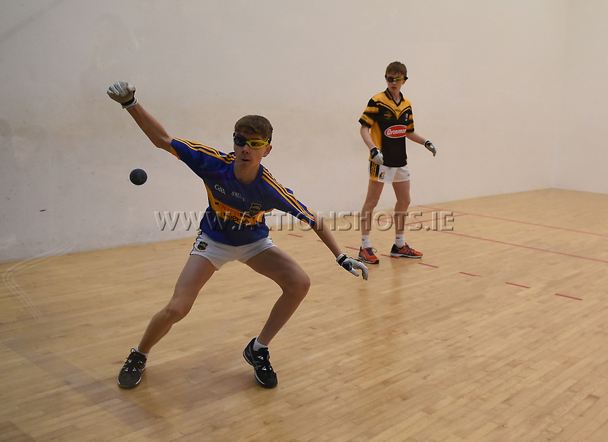 19/03/2018; 40x20 All Ireland Juvenile Championships Finals 2018; Kingscourt, Co Cavan;<br /> Boys Under-15 Singles; Kilkenny (John Doheny) v Tipperary (Rory Grace)<br /> Photo Credit: actionshots.ie/Tommy Grealy