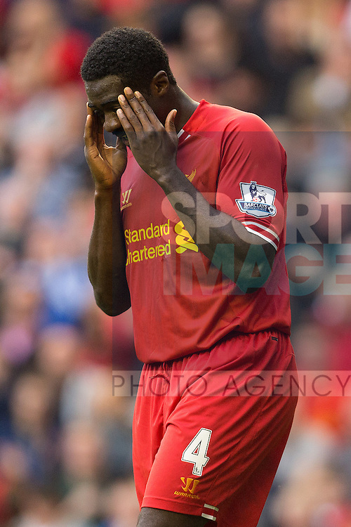 Kolo Toure of Liverpool looks dejected following a missed shot - Liverpool vs. Stoke City -  Premier League - Anfield - Liverpool - 17/08/2013 Pic Philip Oldham/Sportimage