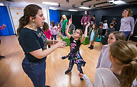 NWA Democrat-Gazette/BEN GOFF @NWABENGOFF<br /> Rachel Bland (from left), Wingate Teaching Artist, works with Bridget Davis, 8, of Bella Vista and Caroline Fitzgibbons, 9, of Bentonville on a choreography exercise Tuesday, March 19, 2019, during the 'Broadway in Bentonville' spring break day camp at Trike Theatre in Bentonville. Kindergarten through 6th grade students develop their acting, singing and dancing skills studying a popular Broadway musical each day of the camp.