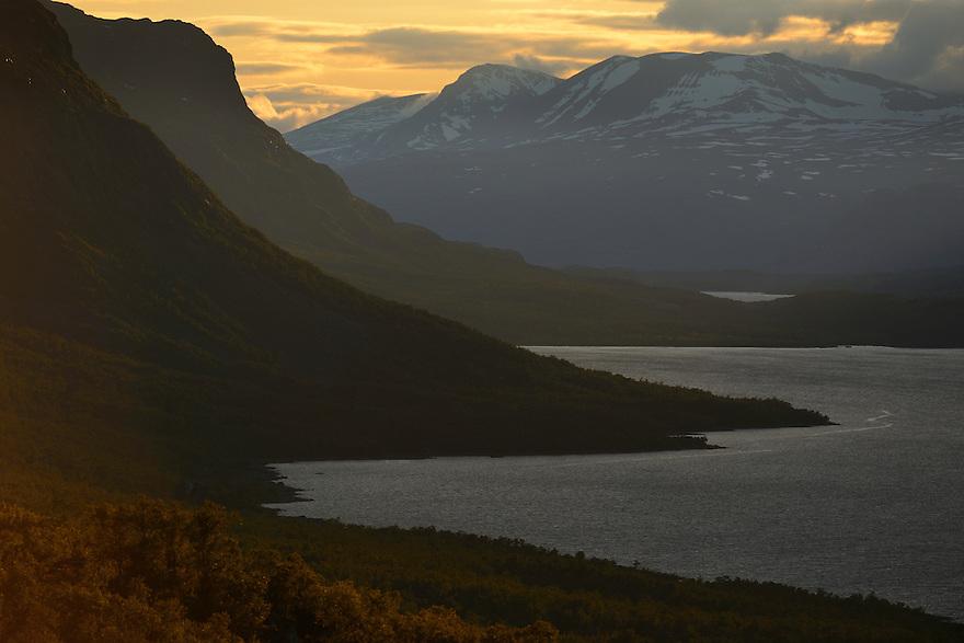Midnight sun light over the Saltoluokta area, bordering to the Stora Sjöfallet National Park, Greater Laponia rewilding area, Lapland, Norrbotten, Sweden