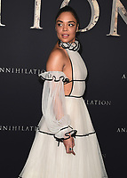 """WESTWOOD, CA - FEBURARY 13:  Tessa Thompson at the Los Angeles premiere of """"Annihilation"""" at the Regency Village Theatre on February 13, 2018 in Westwood, California. (Photo by Scott Kirkland/PictureGroup)"""