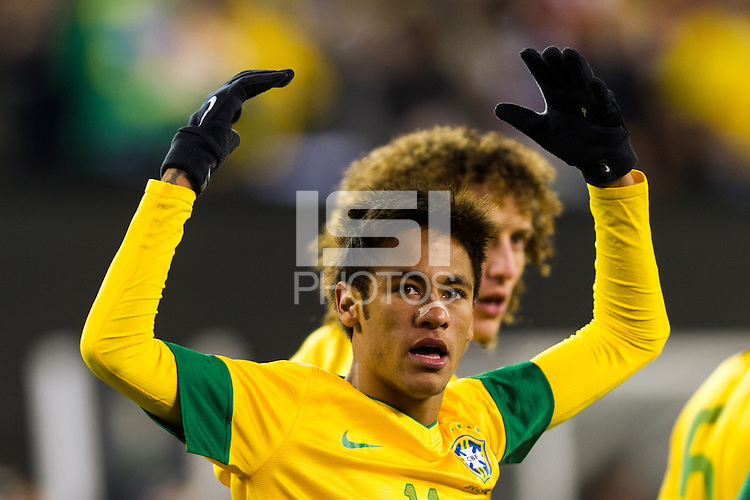 Neymar (11) of Brazil celebrates scoring. Brazil (BRA) and Colombia (COL) played to a 1-1 tie during international friendly at MetLife Stadium in East Rutherford, NJ, on November 14, 2012.