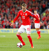 9th October 2017, Cardiff City Stadium, Cardiff, Wales; FIFA World Cup Qualification, Wales versus Republic of Ireland; Aaron Ramsey on the ball for Wales