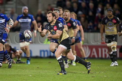 08.04.2016. AJ Bell Stadium, Salford, England. European Champions Cup. Sale versus Montpellier. Montpellier flanker Fulgence Ouedraogo passes the ball.