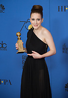 After winning the category of BEST PERFORMANCE BY AN ACTRESS IN A TELEVISION SERIES &ndash; COMEDY OR MUSICAL for her role in &quot;The Marvelous Mrs. Maisel,&quot; actress Rachel Brosnahan poses backstage in the press room with her Golden Globe Award at the 75th Annual Golden Globe Awards at the Beverly Hilton in Beverly Hills, CA on Sunday, January 7, 2018.<br /> *Editorial Use Only*<br /> CAP/PLF/HFPA<br /> &copy;HFPA/PLF/Capital Pictures