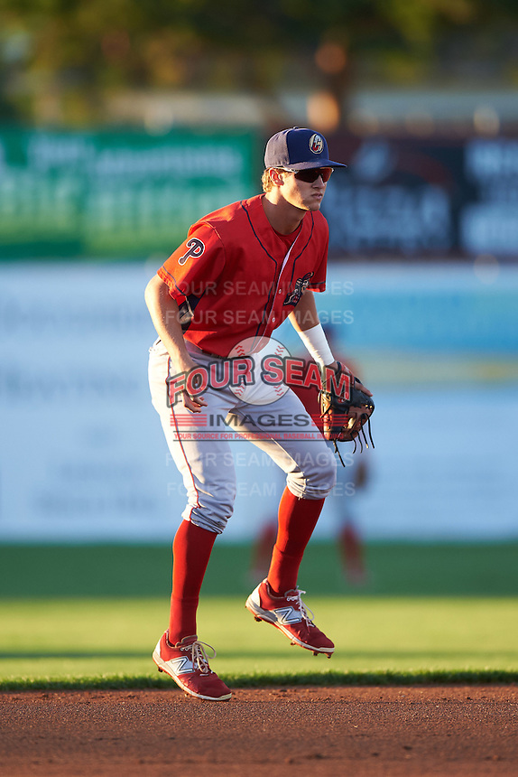 Williamsport Crosscutters shortstop Chandler Hall (13) during a game against the Batavia Muckdogs on September 1, 2016 at Dwyer Stadium in Batavia, New York.  Williamsport defeated Batavia 10-3. (Mike Janes/Four Seam Images)