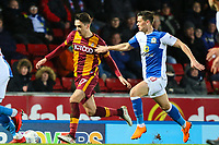 Alex Gilliead of Bradford City and Marcus Antonsson of Blackburn Rovers during the Sky Bet League 1 match between Blackburn Rovers and Bradford City at Ewood Park, Blackburn, England on 29 March 2018. Photo by Thomas Gadd.