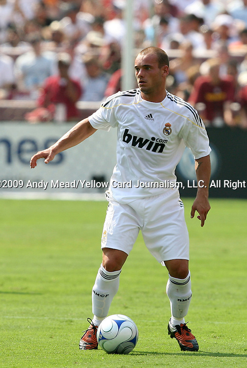 09 August 2009: Real Madrid's Wesley Sneijder (NED). Real Madrid of Spain's La Liga defeated DC United of Major League Soccer 3-0 at FedEx Field in Landover, Maryland in an international club friendly soccer match.