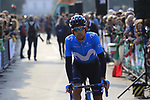 Nelson Oliveira (POR) Movistar Team arrives at sign on before the start of the 112th edition of Il Lombardia 2018, the final monument of the season running 241km from Bergamo to Como, Lombardy, Italy. 13th October 2018.<br /> Picture: Eoin Clarke | Cyclefile<br /> <br /> <br /> All photos usage must carry mandatory copyright credit (© Cyclefile | Eoin Clarke)