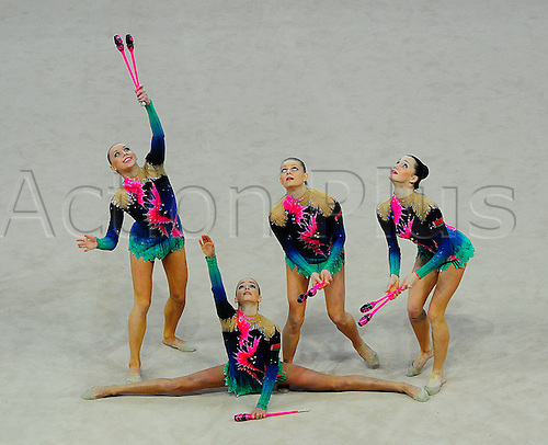 26.04.2013 Pesaro, Italy. The team of Belarus performorming during day one of the Rhythmic Gymnastic World Cup Series from the Adriatic Arena.