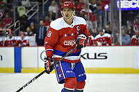 WASHINGTON, DC - MARCH 26: Washington Capitals left wing Alex Ovechkin (8) watches the puck during the Carolina Hurricanes vs. Washington Capitals NHL game March 26, 2019 at Capital One Arena in Washington, D.C.. (Photo by Randy Litzinger/Icon Sportswire)