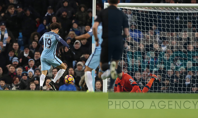 Leroy Sane of Manchester City scores during the Premier League match at Etihad Stadium, Manchester. Picture date: January 21st, 2017.Photo credit should read: Lynne Cameron/Sportimage