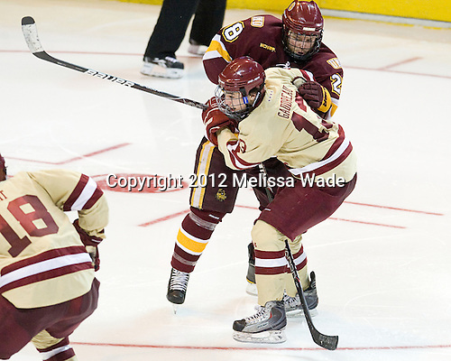 Wade Bergman (Duluth - 28), Johnny Gaudreau (BC - 13) - The Boston College Eagles defeated the University of Minnesota Duluth Bulldogs 4-0 to win the NCAA Northeast Regional on Sunday, March 25, 2012, at the DCU Center in Worcester, Massachusetts.