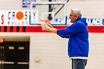 WATERBURY, CT. 05 December 2018-120518 - Crosby assistant basketball coach Larry Devito yells out some instructions to his players during a team practice before the start of the 2018-2019 season at Crosby High School in Waterbury on Wednesday. Bill Shettle Republican-American