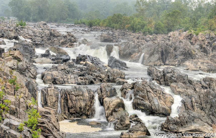 The Great Fall of the Potomac-The falls consist of cascading rapids and several 20 foot waterfalls, with a total 76 foot drop in elevation over a distance of less than a mile.