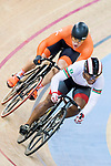 Harrie Lavreysen of the Netherlands team and Jair Tjon en Fa of the Suriname team competes in the Men's Sprint - 1/8 Finals as part of the Men's Sprint - 1/8 Finals as part of the 2017 UCI Track Cycling World Championships on 14 April 2017, in Hong Kong Velodrome, Hong Kong, China. Photo by Chris Wong / Power Sport Images