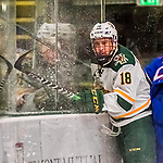 19 January 2018: University of Vermont Catamount Defenseman Matt O'Donnell, a Sophomore from Fountain Valley, CA, is checked into the boards during first period play against the University of Massachusetts Lowell Riverhawks at Gutterson Fieldhouse in Burlington, Vermont. The Riverhawks rallied to defeat the Catamounts 3-2 in overtime of their Hockey East matchup. Mandatory Credit: Ed Wolfstein Photo *** RAW (NEF) Image File Available ***