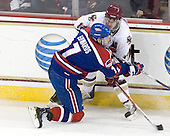 Maury Edwards (Lowell - 7), Brian Gibbons (BC - 17) - The Boston College Eagles defeated the visiting University of Massachusetts-Lowell River Hawks 5-3 (EN) on Saturday, January 22, 2011, at Conte Forum in Chestnut Hill, Massachusetts.