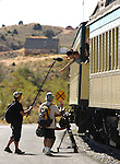 Film crews shoot contestants of the Miss Chinese Cosmos pageant during a tour of Virginia City, Nev., on Tuesday, Sept. 27, 2011, including a ride on the V&T Railroad..Photo by Cathleen Allison